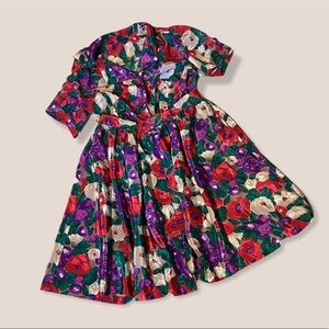 Vintage Hand-Sewn Floral Two-Piece Skirt Set